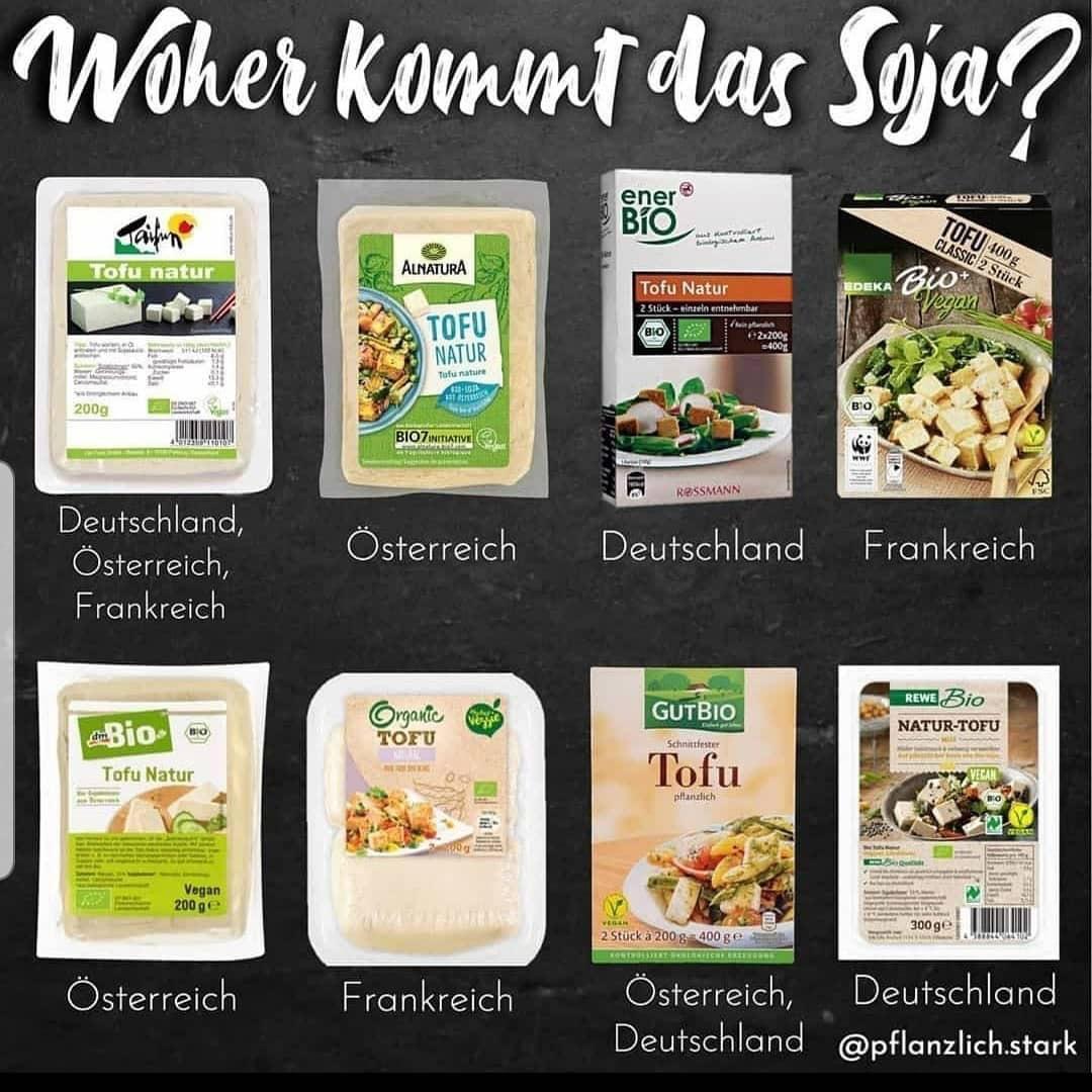 Woher kommt das Soja für Veganer - Deutschland, Österreich, Frankreich